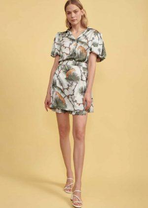 17. Short Sleeve Blouse _ Pleaded Skirt
